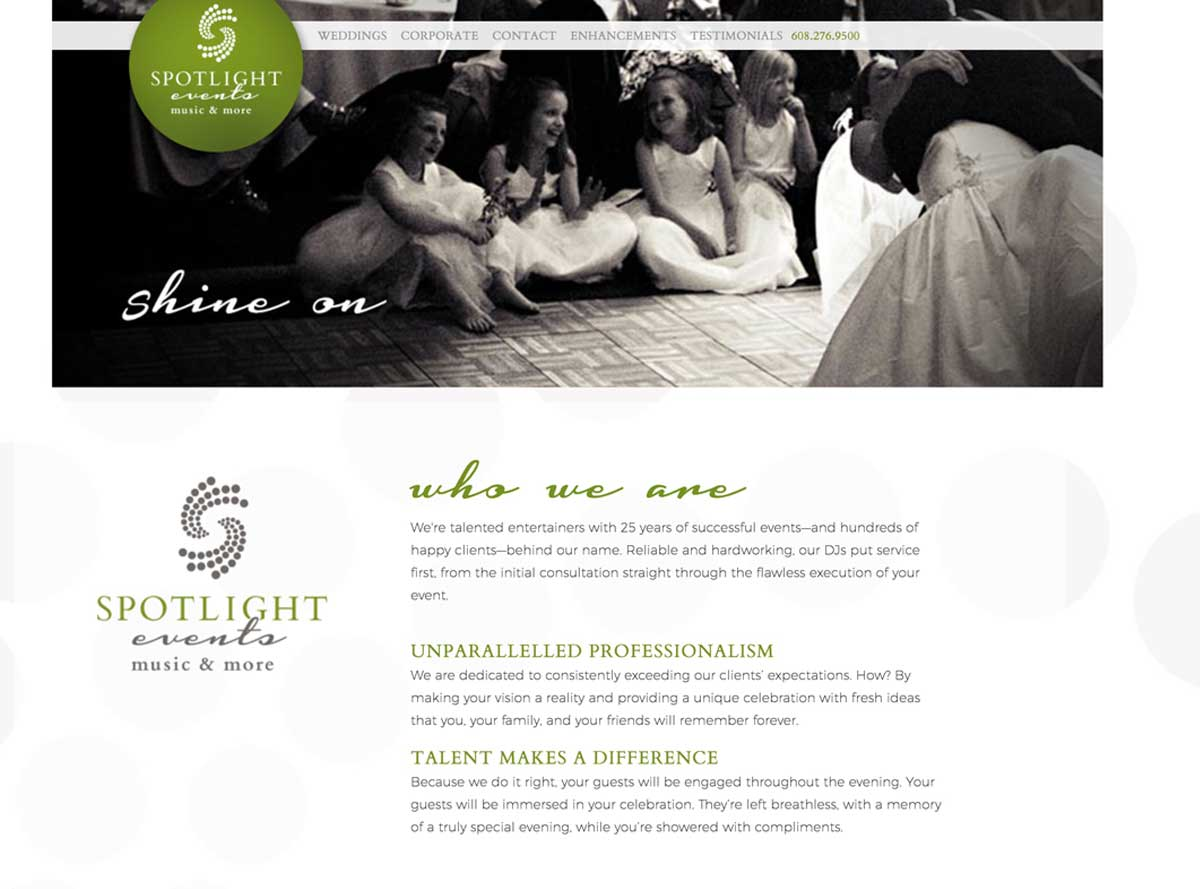 Spotlight Events website